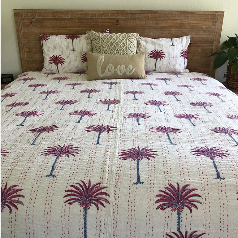 Pink Palm Tree Cotton Quilt The Fox and the Mermaid