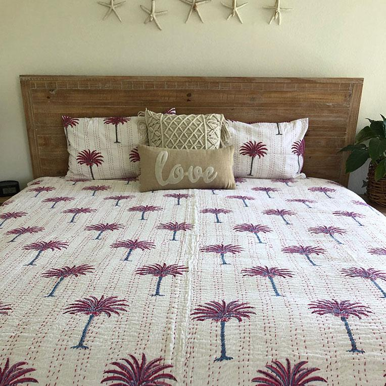 Pink and Red Palm Tree Kantha Quilt
