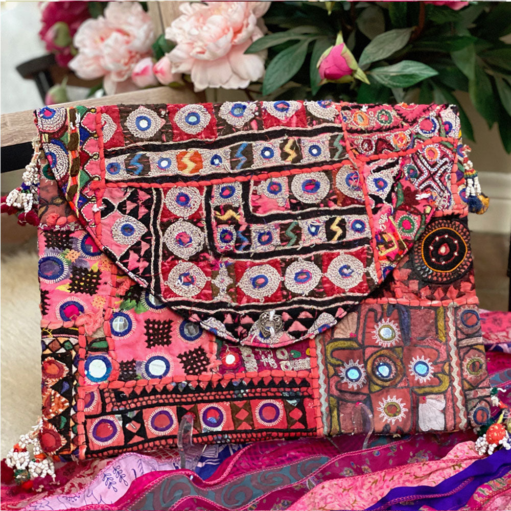Colorful Beaded Banjara Clutch - The Fox and the Mermaid