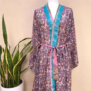 pink and blue silk robe red silk robe  - THE FOX AND THE MERMAID