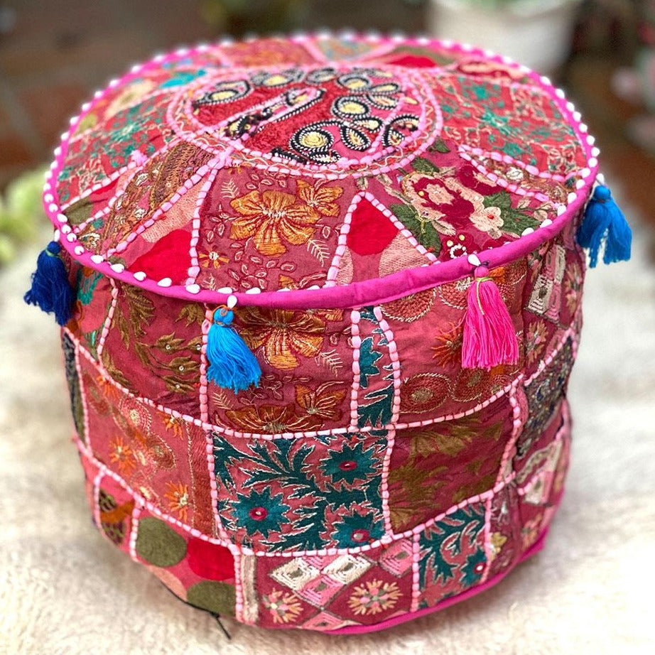 pink patchwork pouf cover - The Fox and the Mermaid