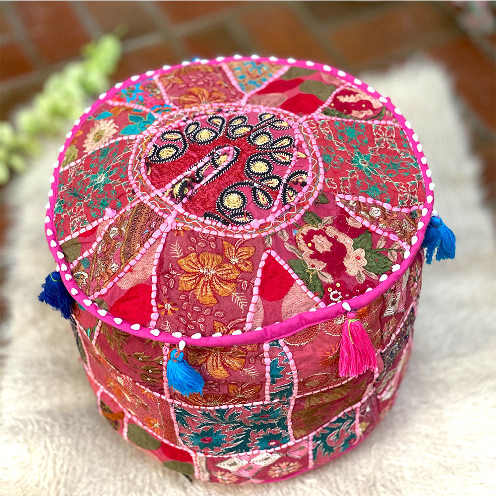 Hot Pink Patchwork pouf cover - The Fox and the Mermaid