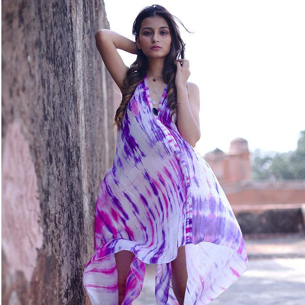 purple and pink silk tiedye convertible dress The Fox and the Mermaid