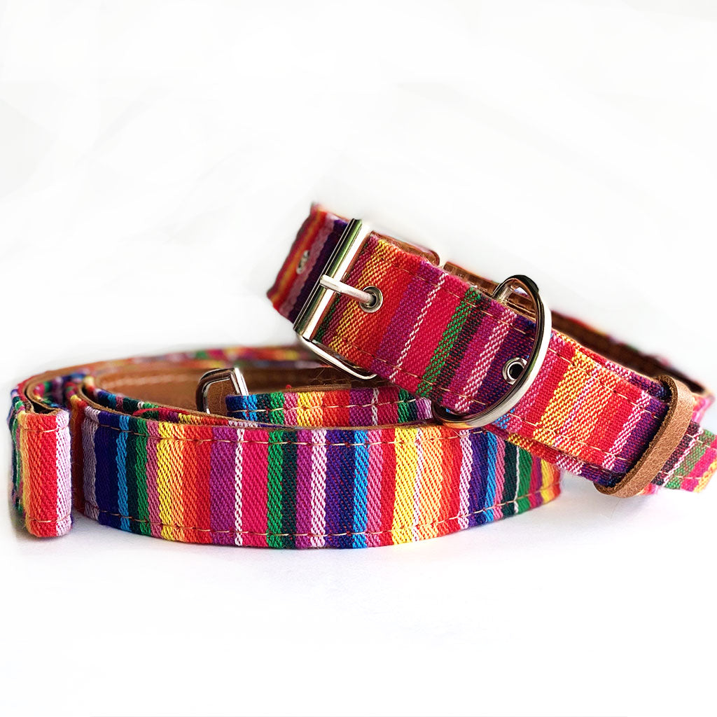 Rainbow color handwoven dog leash and collar - The Fox and the Mermaid