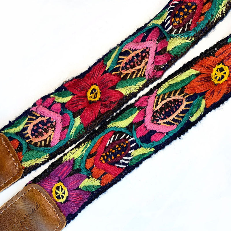red embroidered flower on strap - The Fox and the Mermaid