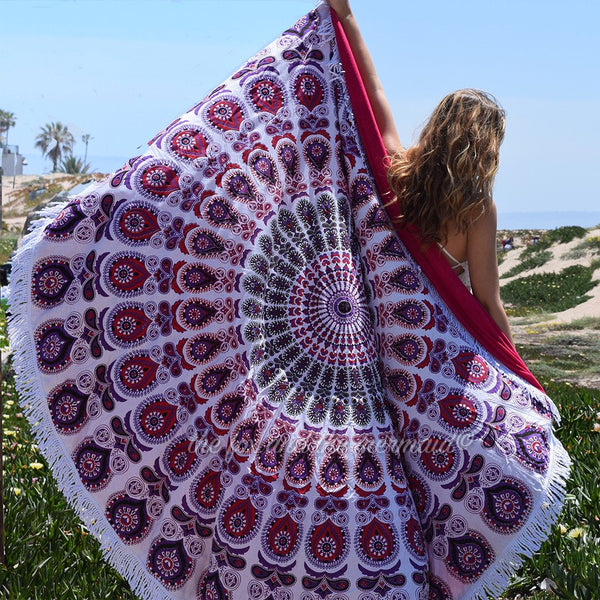 Fuscia Round Beach Towel - The Fox and The Mermaid