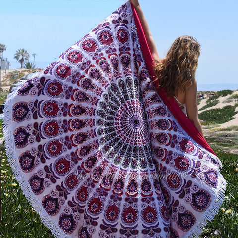 Fuscia Round Beach Towel