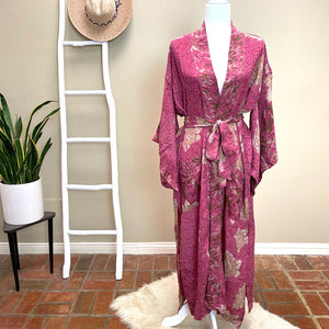 pink floral vintage silk robe and kimono - The Fox and the Mermaid
