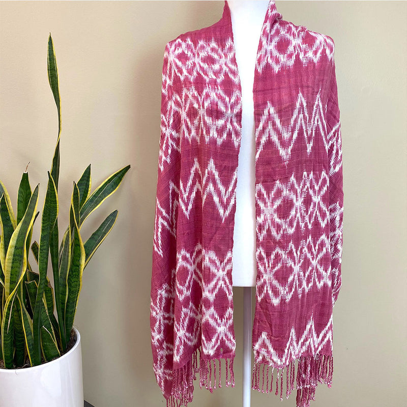 pink shawl woven on a blackstrap loom - The Fox and the Mermaid