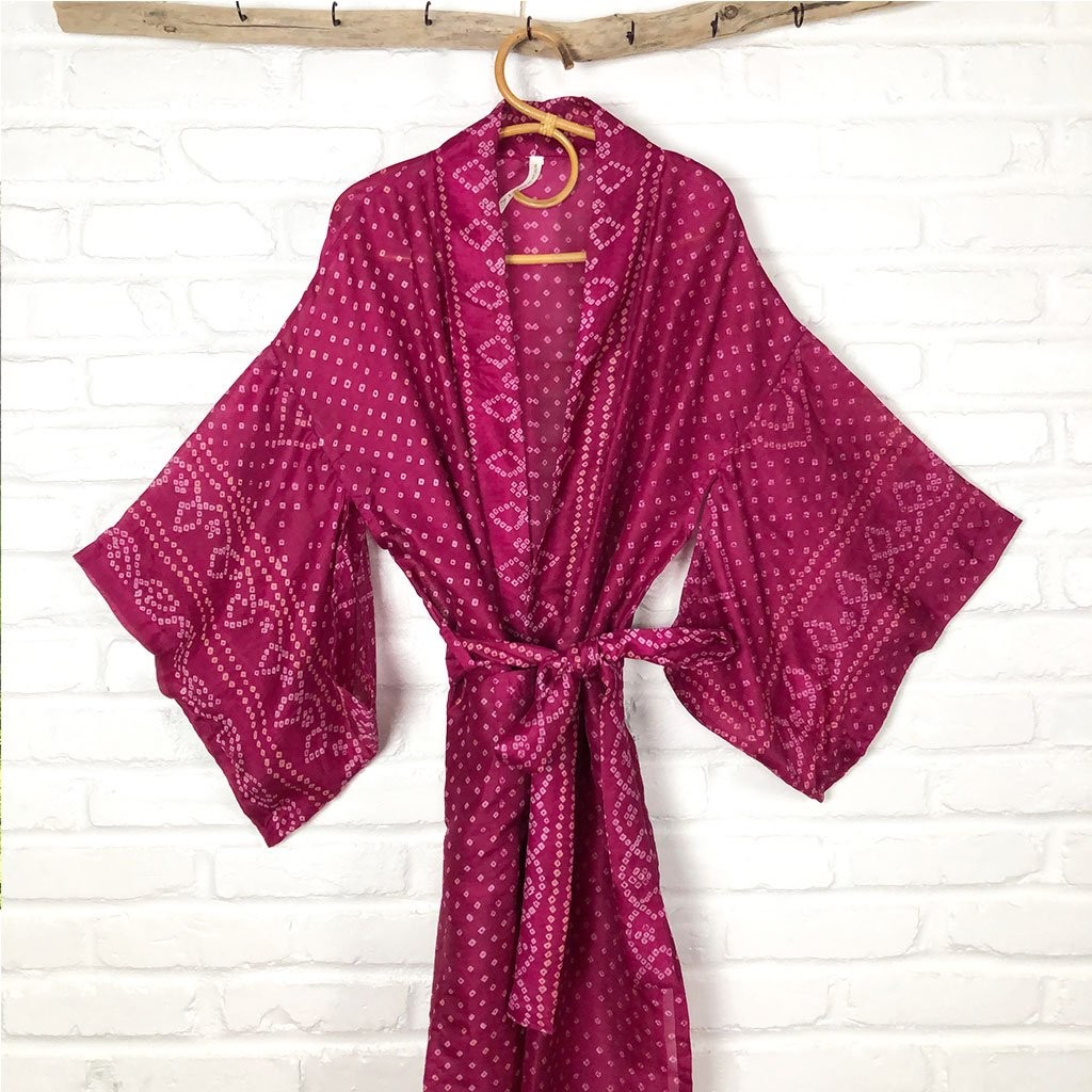 pink vintage silk kimono robe The Fox and the Mermaid