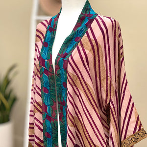 pink striped vintage crepe silk kimono - The Fox and the Mermaid