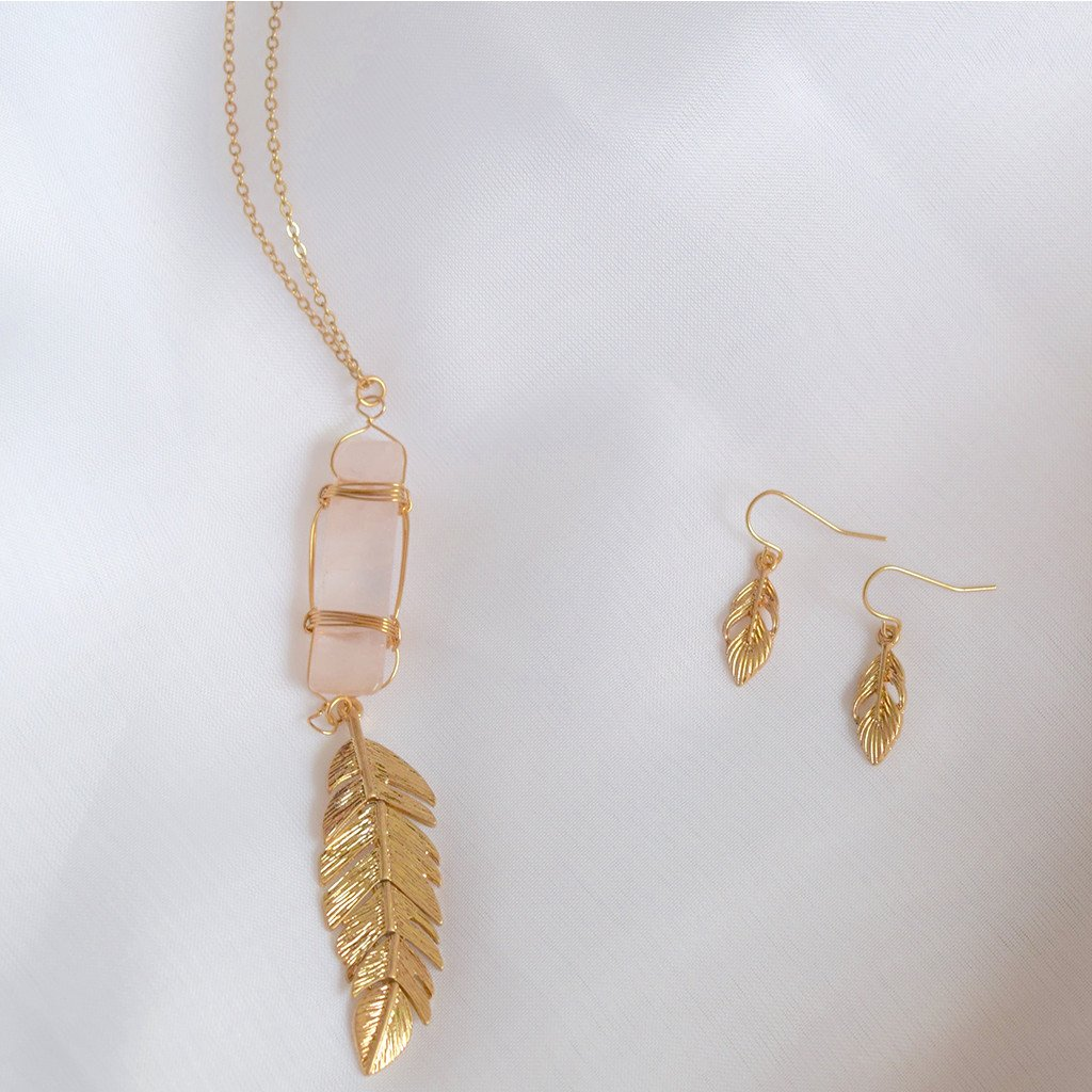 Pink Crystal Necklace with Dangling Leaf Pendant and Matching Earrings The Fox and the Mermaid