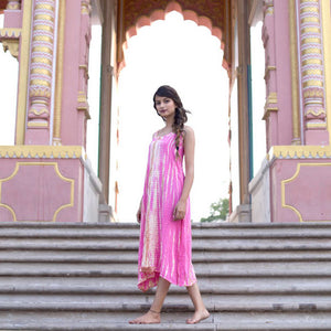 Pink and tan Tie-Dyed Indian rayon Dress The Fox and the Mermaid