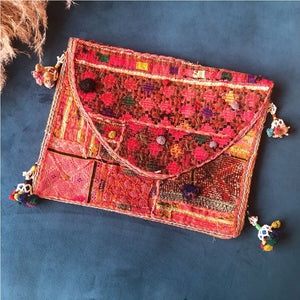 pink embroidered indian clutch The Fox and the Mermaid