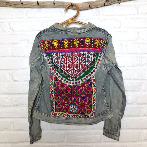 embroidered denim jacket with tribal patches The Fox and the Mermaid