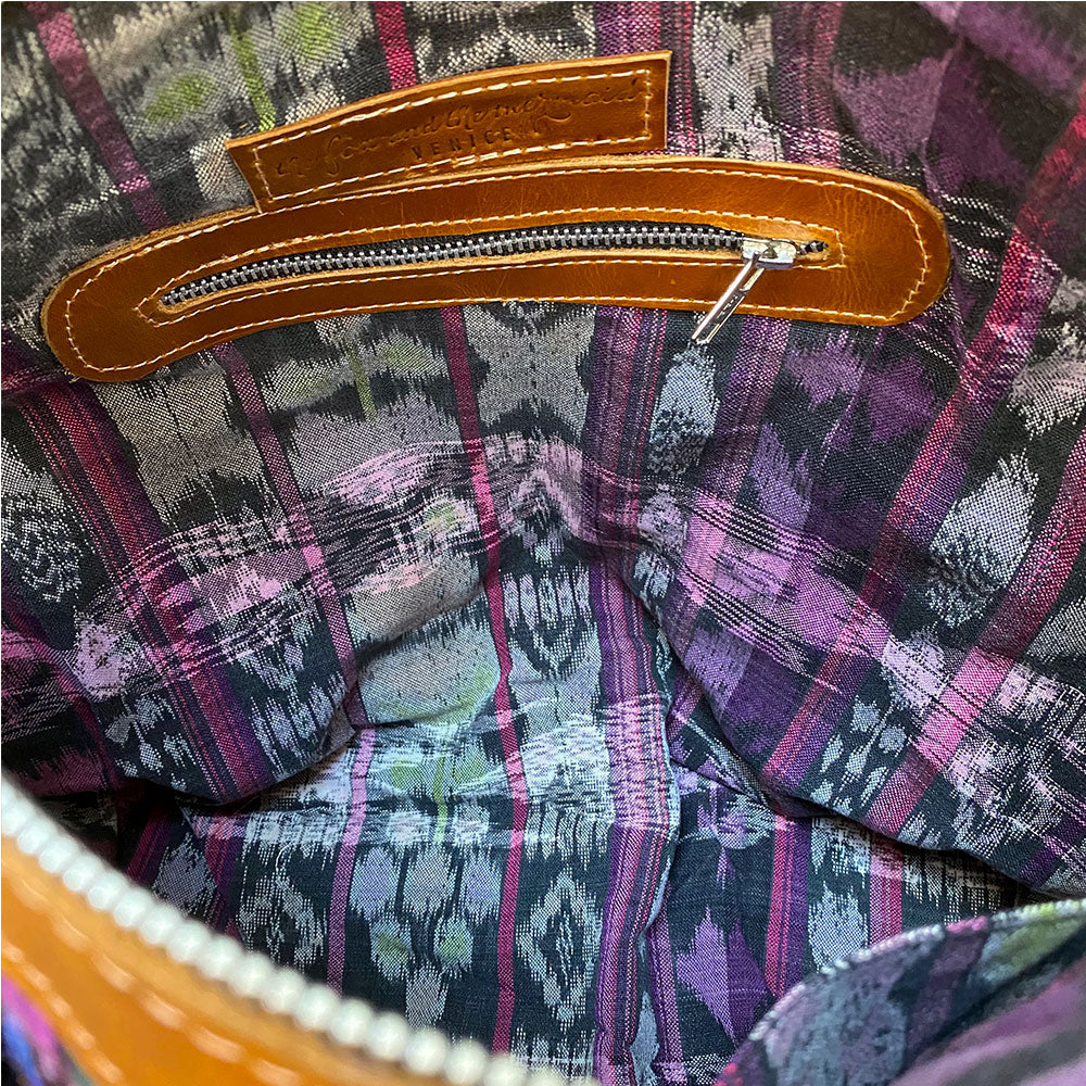 purple ikat lining in guatemalan bag - The Fox and the Mermaid