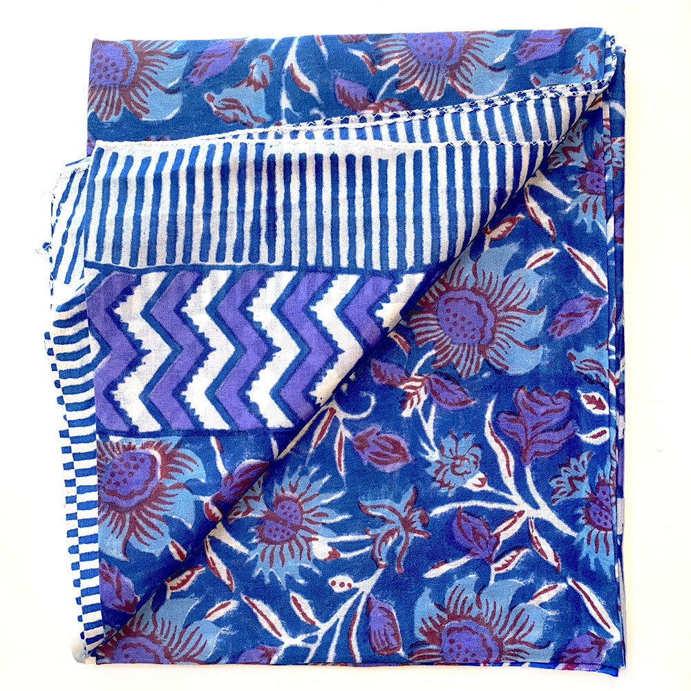 Purple Floral Block Printed sarong - The Fox and the Mermaid