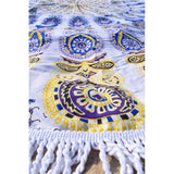 Purple Mandala Tapestry Terrycloth Beach Towel The Fox and the Mermaid