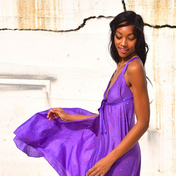 Gold and purple vintage silk dress The Fox and the Mermaid
