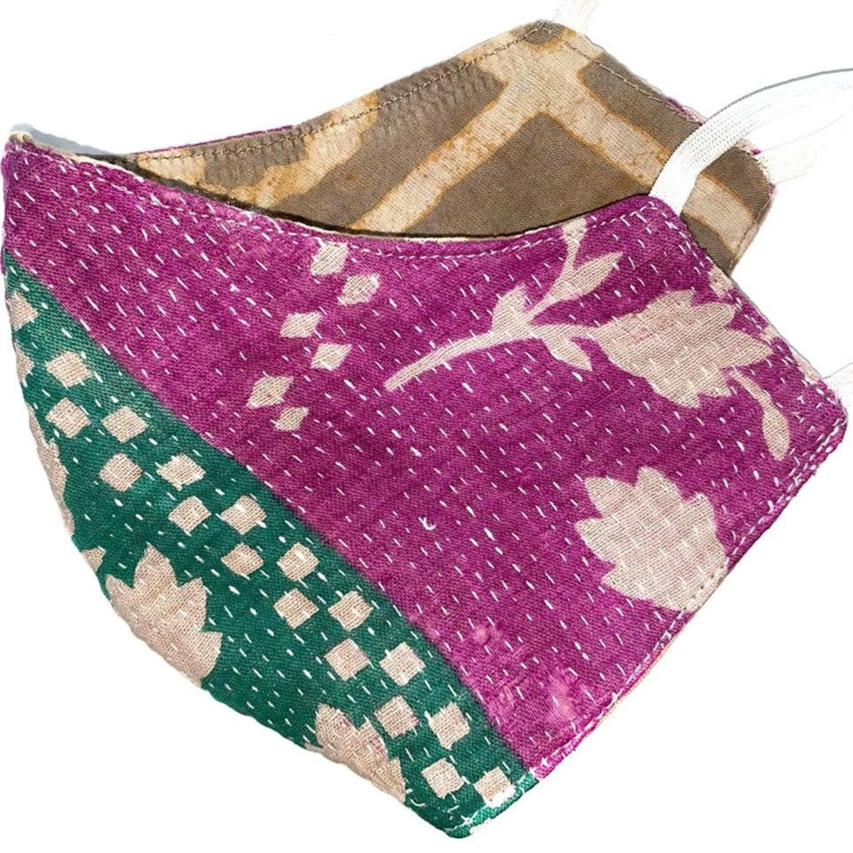 green and purple double sided kantha mask - The Fox and the Mermaid