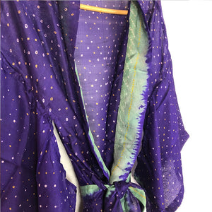 purple and green tie-dyed silk kimono The Fox and the Mermaid