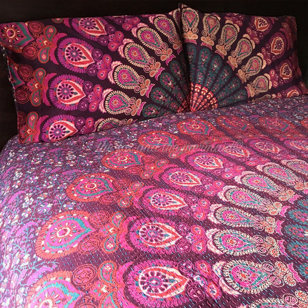 Hello Love Mandala Kantha Quilt - The Fox and The Mermaid - 1