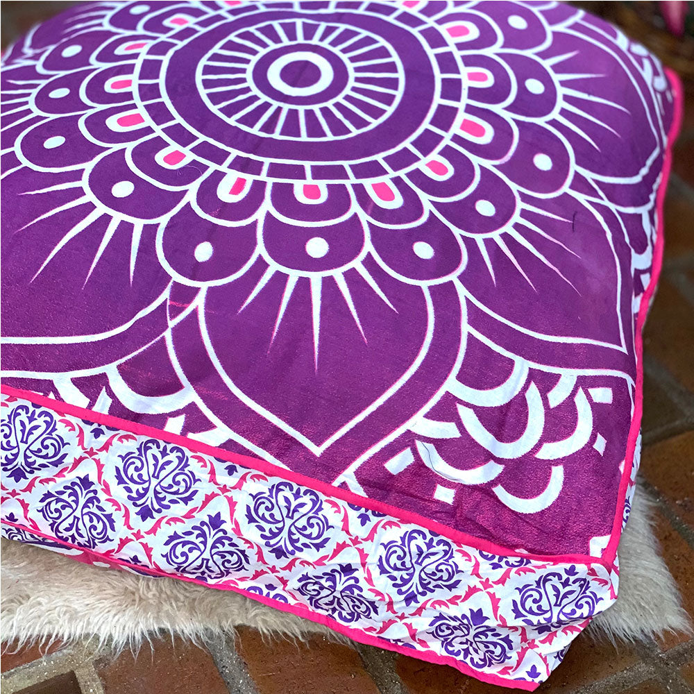 Mandala Tapestry Floor Cushion and Dog Bed: Pink and Purple Ombre - The Fox and The Mermaid - 1