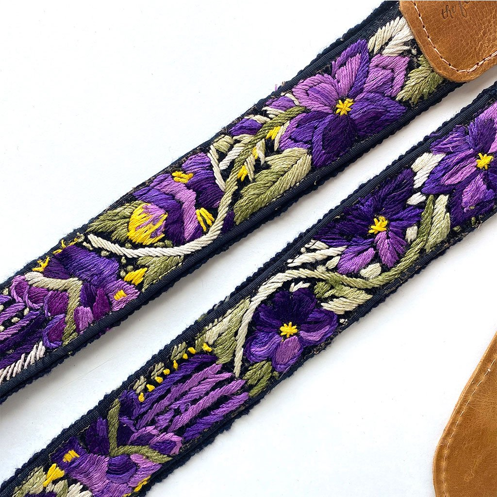 purple embroidered flower detail - The Fox and the Mermaid