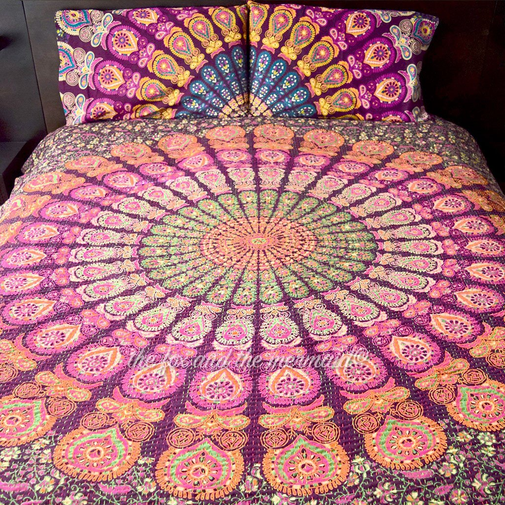 Purple and Green Mandala Kantha Quilt - The Fox and The Mermaid - 1