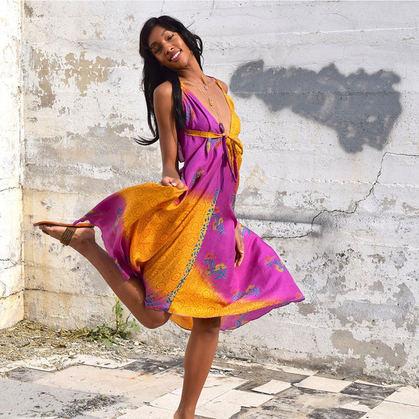 purple and yellow vintage silk dress The Fox and the Mermaid