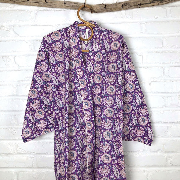 Purple Block Printed Robe The Fox and the Mermaid