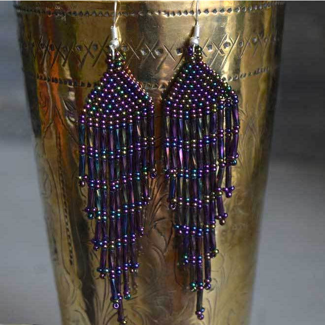 Purple Beaded Chandelier Earrings The Fox and the Mermaid