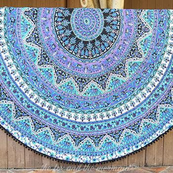 Purple Rhapsody Mandala Roundie Quilt with Pom-Poms