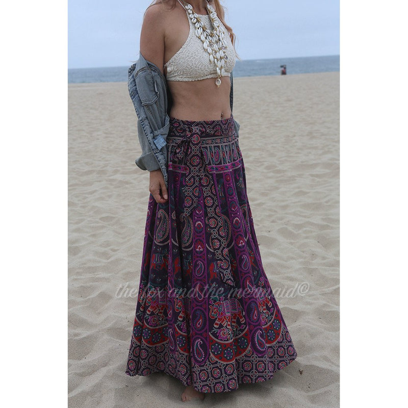 Purple Boho Long Flowy Skirt The Fox and the Mermaid