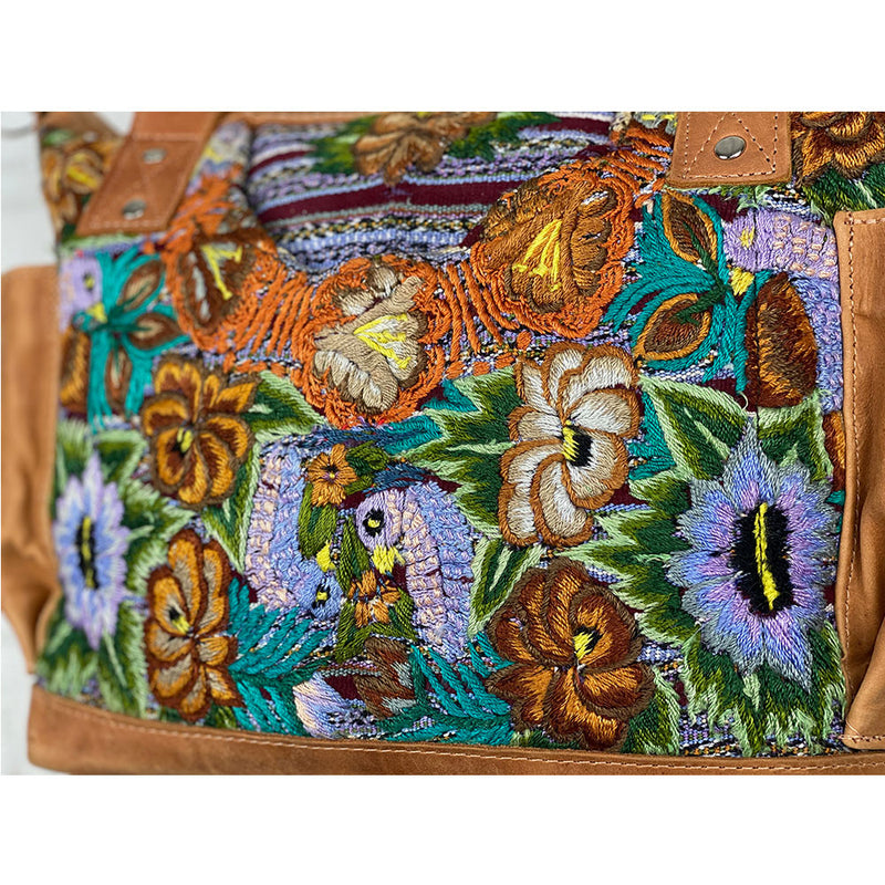Embroidered lavender flowers and birds on bag - The Fox and the Mermaid