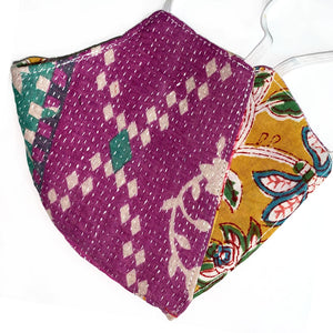 purple yellow and green kantha mask - The Fox and the Mermaid