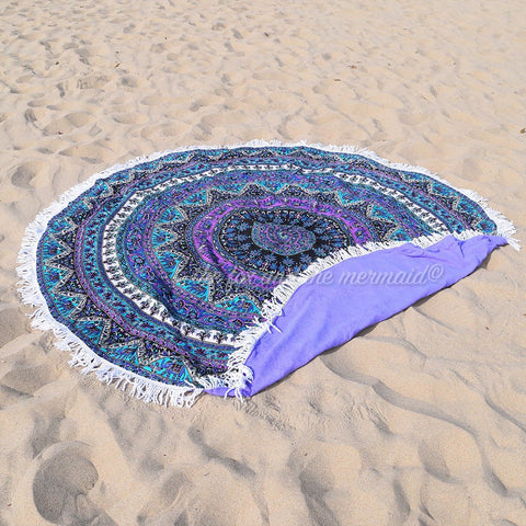 Purple Rhapsody Round Beach Towel