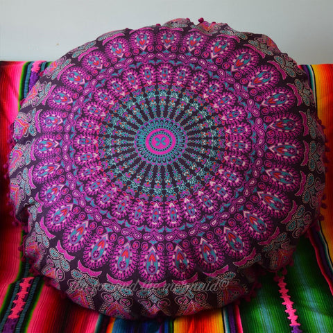 Little Hello Love Mandala Tapestry Floor Cushion: Purple