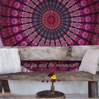 Hello Love Mandala Roundie with Pink Fringe - The Fox and The Mermaid - 1
