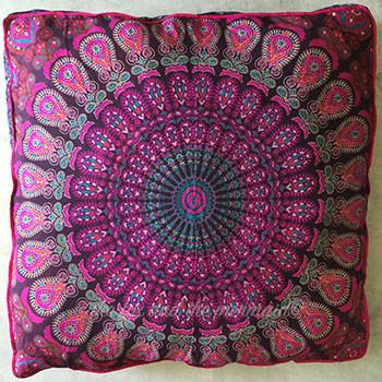 Mandala Tapestry Floor Cushion and Dog Bed: Pink and Purple