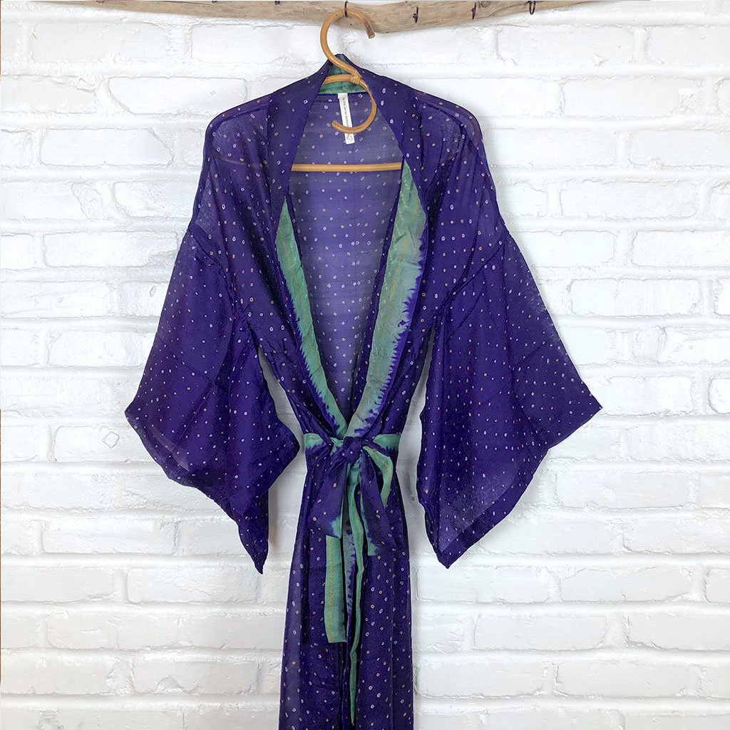 Purple and Green Silk Robe The Fox and the Mermaid