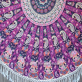 The Starling Mandala Roundie with White or Purple Fringe or Pom-Poms - The Fox and The Mermaid - 3