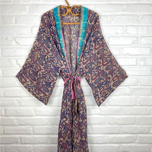 vintage silk robe with blue trim  - THE FOX AND THE MERMAID