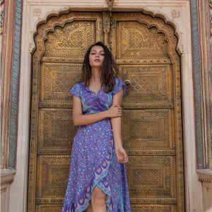 Purple Flowy Wrap Dress The Fox and the Mermaid