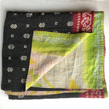 black silver and red kantha quilt The Fox and the Mermaid