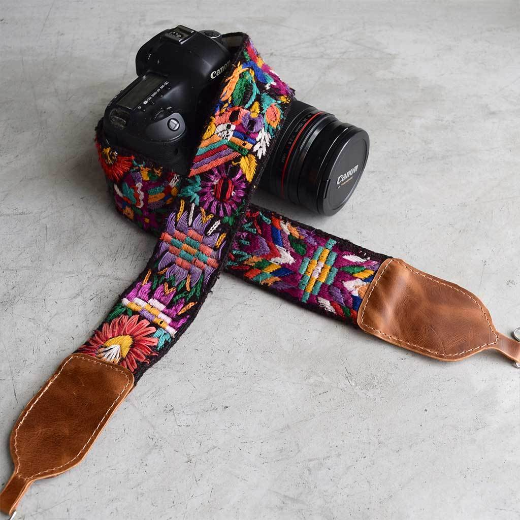 Mayan Embroidered Huipil Camera Strap The Fox and the Mermaid