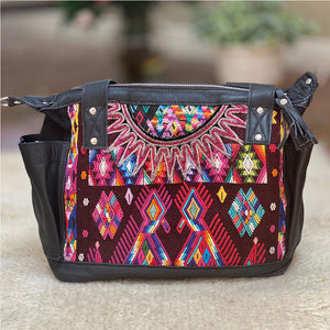 Rainbow colored huipil bag with embroidered birds and detachable straps - The Fox and the Mermaid
