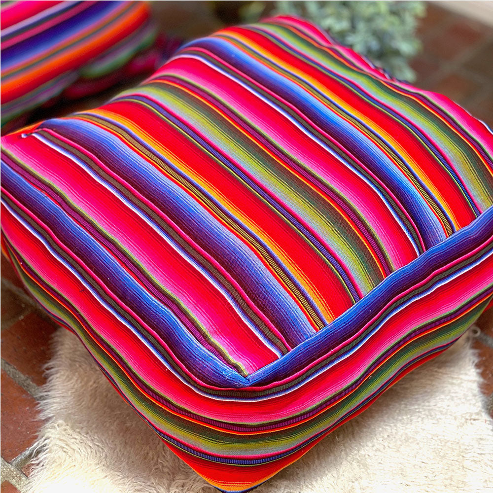 serape rainbow pouf cover - the fox and the mermaid