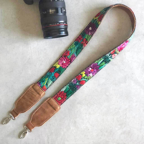 Leather bag or camera strap from guatemala The Fox and the Mermaid