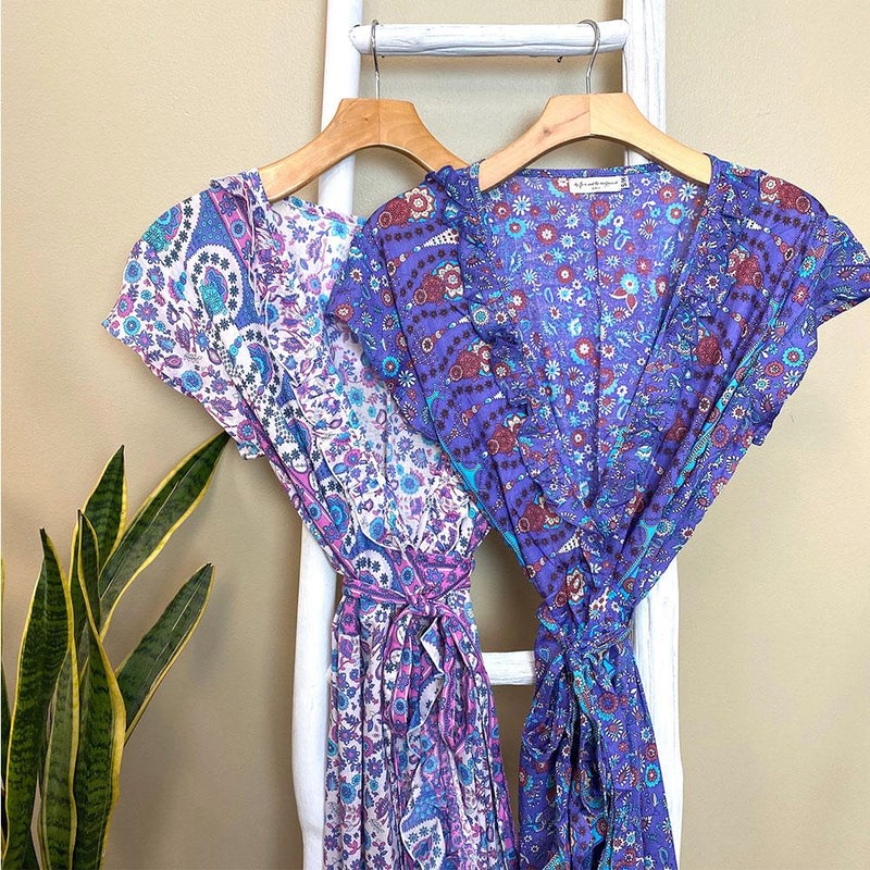Purple Rayon Voile Wrap dress - The Fox and the Mermaid